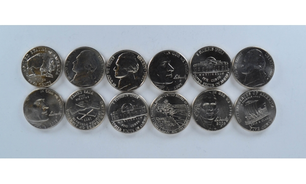 United States 6 coin set 5 cents x 6 coins