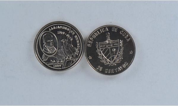 Kuba 25 Centavos 1989 A. Humboldt