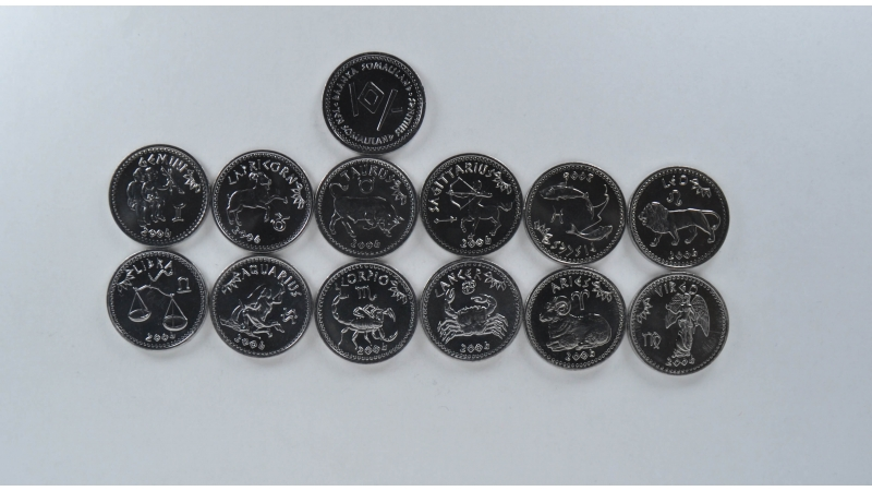 Somalilandas 12 monetų rinkinys (12 zodiakų komplektas)
