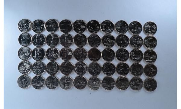 JAV valstijų ketvirčio dolerio 50 pilnas monetų komplektas